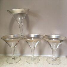 "4 Wide Silver Rimmed Martini Glasses Stemmed Dorothy Thorpe ? 5"" Wine Mcm"