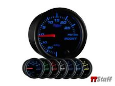 GlowShift Black Clear Lens 7 Color 30 PSI Turbo Boost /Vacuum 52mm Gauge GS-C701