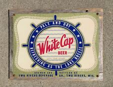 White Cap Beer Lake Michigan Waves Twin Two Rivers Wisconsin Vintage Metal Sign