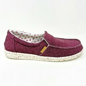 Hey Dude Misty Burgundy Womens Casual Lightweight Shoes 140016900