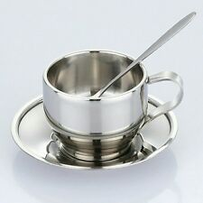 125ml Steel Cup Saucer Spoon Set Stainless Steel Double Wall Coffee Mug