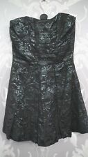 Black and Metallic Green Strapless Puffball Dress from Paprika size10