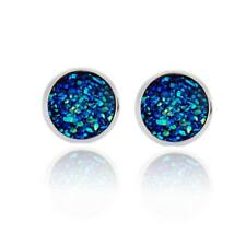 Boho Silver False Druzy Ear Stud Women Natural Stone Size 12mm Quartz Earrings 6 Blue