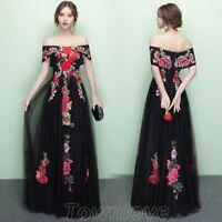 Women Elegant Off Shoulder Prom Bridesmaid Wedding Gown Evening Party Long Dress