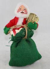 "Vintage 1967 Annalee Santa Claus Mobilitee Dolls Figure Gift Bag Christmas 8"""