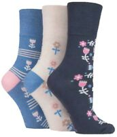 3 Pairs Ladies Grey Blue Cream Floral Cotton Gentle Grip Socks, UK Size 4-8