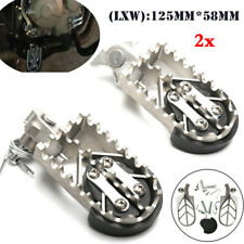 Pair Silver Stainless Steel Motorcycle Bike Off-road Left&Right Foot Pegs Pedal