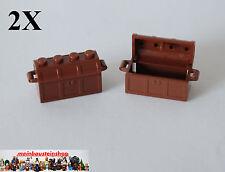 2X Lego® 4738  4739 Piraten Schatztruhe Kiste treasure chest Rotbraun Red. Brown