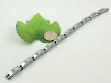 Gents High Quality Heavyweight Faceted Wave Link Tungsten Carbide 9'' Bracelet
