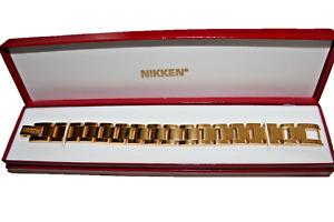 NIKKEN Men's Integrity 24K Gold Plated Bracelet New in Box~