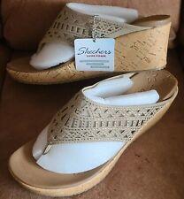Skechers Womens Cali Beverlee Summer Visit Luxe Foam Wedge Slip On Sandals 13715