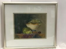 "Vintage Original Oil Painting Still Life Fruit Bowl Signed Matted Framed 15""x 14"
