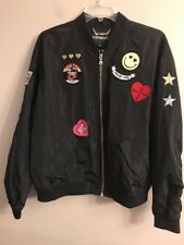 NWT EXPRESS Women's Bomber Jacket MEDIUM Black Patches Lightweight #89790