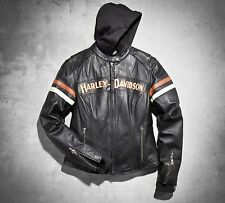 "Harley-Davidson Womens SMALL ""Miss Enthusiast"" Leather 3-in-1 Jacket W/Hoodie"