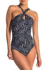 Miraclesuit Leopard Glitz Halter One-Piece Swimsuit 6511514 Size 12