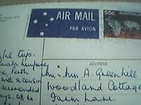 postcard used stamped franked airmail australia 55c sydney from the sea f1g