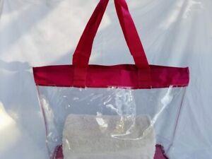 HOT PINK All Clear See Through Vinyl Tote Bag Purse Security Stadium Beach