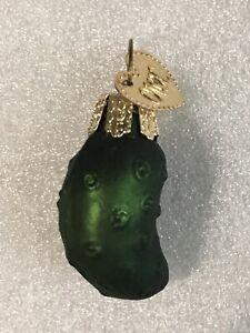 Old World Christmas Mini Pickle Gherkin Glass Blown Ornament Bronner's w Box