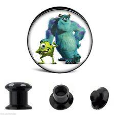 PAIR-Monsters Acrylic Screw On Stash Ear Plugs 10mm/00 Gauge Body Jewelry