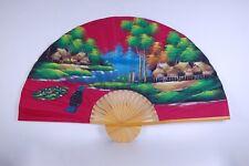 Grande ventaglio bordeaux dipinto a mano, Cinese Giapponese.