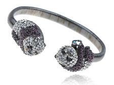 Gun Metal Tone Alloy Purple Crystal Rhinestone Twin Panda Cuff VTG Bracelet