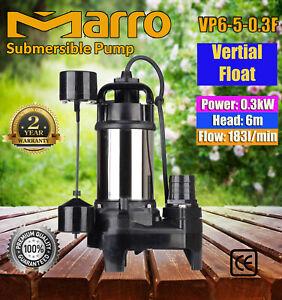 Marro Submersible/Sump Pump Sewage Pump Vertical Float VP6-5-0.3F 6m Head 183L/m