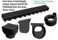 Shallow Drain Channel 1m Lengths Polydrains Channel Quad box End Cap Body Outlet