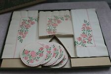 """""""Rambling Roses"""" vintage hostess party ensemble-""""facial quality"""" paper products"""