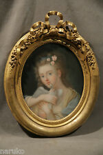 BEAUTIFUL LADY PASTEL IN THE STYLE OF JOHN BAPTISTE GREUZE WITH NICE FRAME