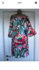 LADIES STUNNING MULTI COLOURED SHIFT DRESS WITH FRILL SLEEVES M&S SIZE 16 BNWT