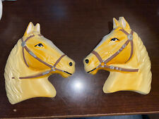 Pair of Vintage Horse Head Chalkware Wall Hanging Plaques