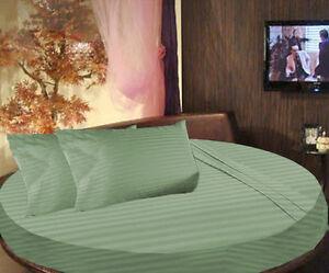 "1000TC 100% Egyptian Cotton 15"" Pocket 92"" Diameter Round Bed Striped Sheets Set"