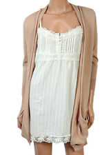 Next Womens Mock Layered Long Waterfall Cardigan & Strappy Cami Vest Top 6 8 10