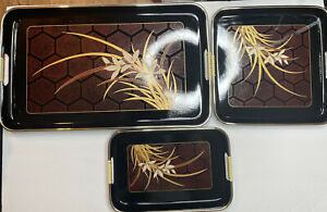 Made In Japan 3 Piece Floral Lacquer Serving Tray Set Black Red Gold