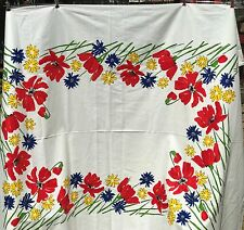 Vintage VERA Spring Tablecloth Tulips Daffodil Picnic Table Vibrant Red 60 X 80