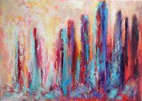 """Peinture, Paysage urbain, Tableau abstrait original signé HZEN """"MURAILLES"""" 70x50"""