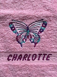 Embroidered butterfly design face flannel/cloth, for CHARLOTTE. £4.45  inc P&P