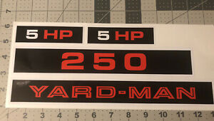 Yard-Man 250 5hp Decal Set For Riding Mower, Early Yardman Wards Set Of 4