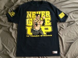 John Cena WWE Authentic Wear Men's Never Give Up Graphic T-Shirt Large