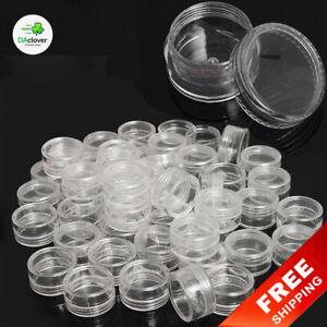 Make Up Storage Box 50pcs Clear Plastic Jewelry Bead Round Container Organizer