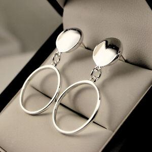 925 Sterling Silver Plt Round Open Circle Hoop Dangle Drop Earrings -UK