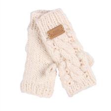 Aran Traditions Womens Ladies Winter Fingerless Cream White Hand Knit Gloves