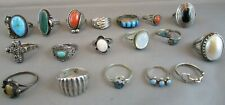 Vintage Lot sterling silver Rings Native American & other Sterling rings 77.5g