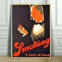 "VINTAGE CIGARETTE AD CANVAS ART PRINT POSTER - Smoking El Papel De Fumar -36x24"""