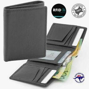 Genuine Men's Soft Cowhide Leather Anti-RFID Blocking Technology 3 fold Wallet