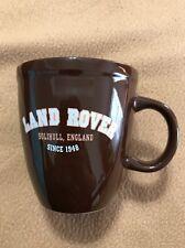 "Land Rover dark brown ceramic coffee cup mug says ""SOLIHULL, ENGLAND SINCE 1948"""