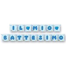 FESTONE BATTESIMO BIMBO Quadro Azzurro 3,90 m Addobbi Feste ed Eventi