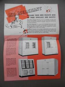1942 McCray Refrigerator Foldout Catalog Poster Brochure Commercial Vintage WWII