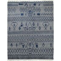 Tribal GRAY/NAVY Geometric Moroccan Gabbeh Lamb-Wool Hand-Knotted Area Rug 8x10