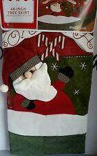 """Christmas Tree Skirt 48"""" 3D Santa Ho Ho Ho"""